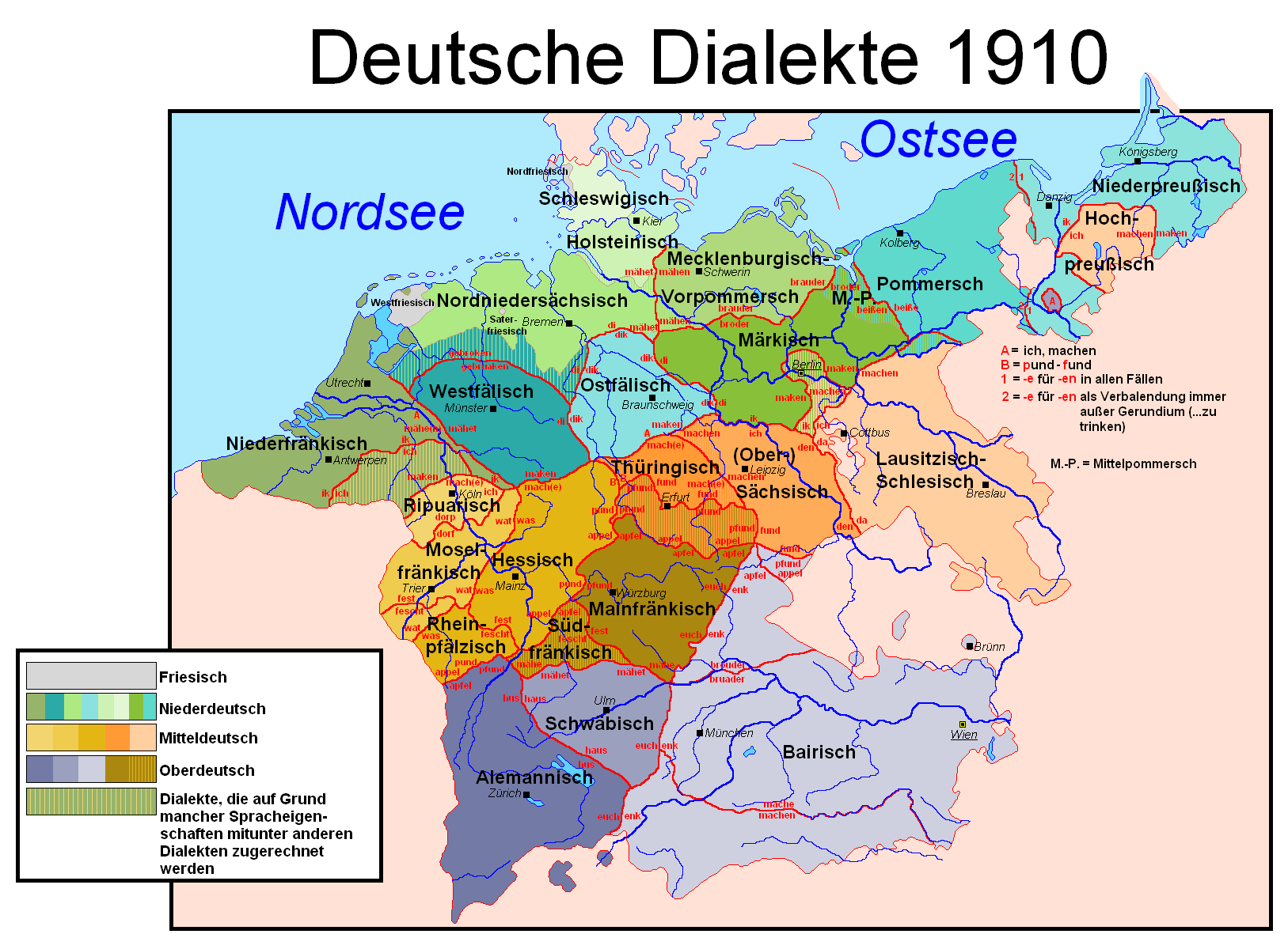 isoglosses of german and dutch dialects in 1910