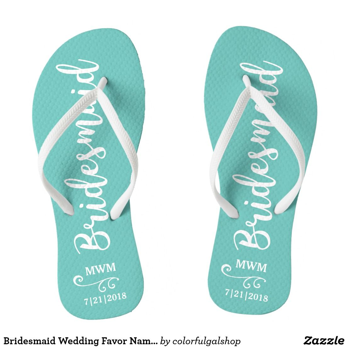Bridesmaid Wedding Favor Name or Monogram Script Flip Flops | Favors ...