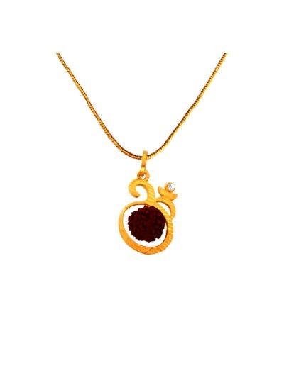 Menjewell goldbrown rudraksha studded lord shiva gold plated om buy designer fashionable rudraksh pendant with chain we have a wide range of traditional modern and handmade with chain mens pendants online aloadofball Image collections