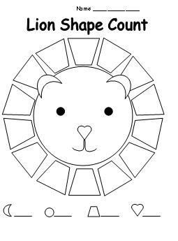 Shape Count Worksheet for Lion Theme from Making Learning
