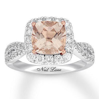 46310bdbb Neil Lane Morganite Engagement Ring 7/8 ct tw Diamonds 14K Gold ...