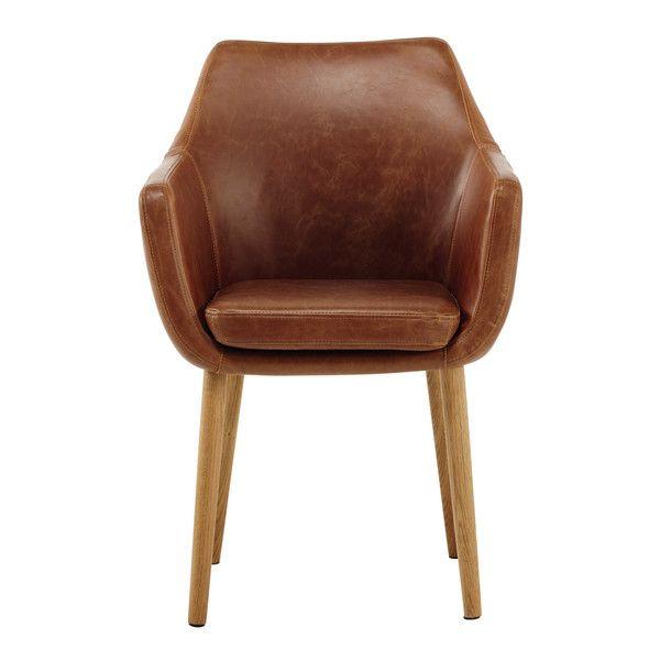 Imitation Leather Vintage Armchair In Brown Davis Fauteuil Vintage Fauteuil Retro Fauteuil Salle A Manger