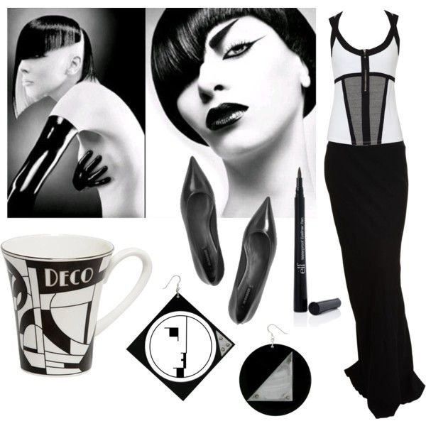 """New Wave meets Art Deco"" by sagenoir on Polyvore"