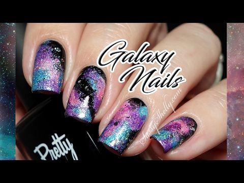 Galaxy Nail Art TUTORIAL with sparkly Holos!  - Sassy Shelly  (MissShelly129 on YouTube)     #nailart #nails #nailtutorial