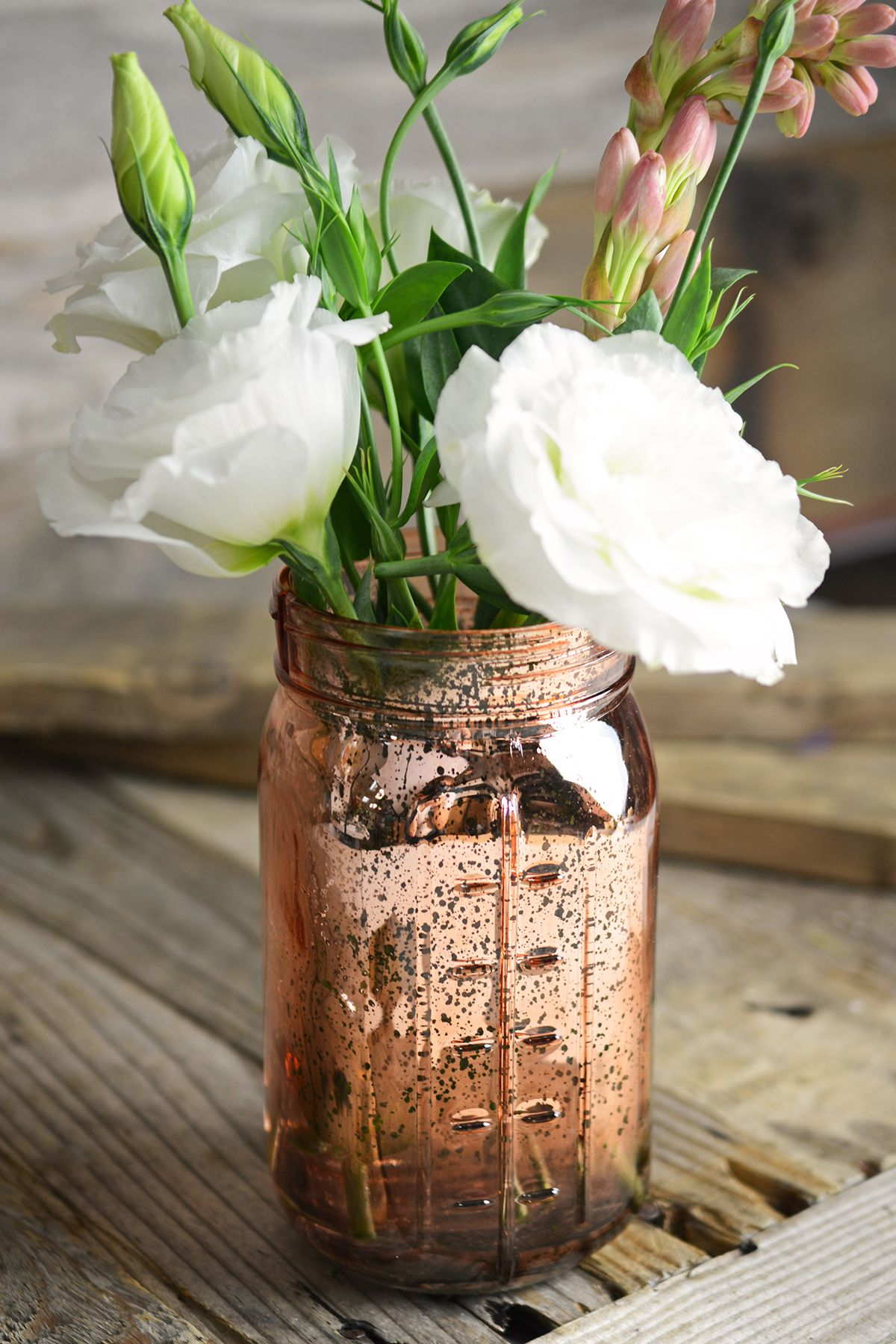 Pink Rose Gold Mercury Glass Mason Jar Mason Jar Flowers Gold