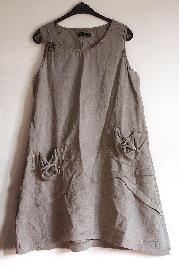 e4656e4b2a6 Vintage linen tunic dress natural linen by GreenHouseGallery