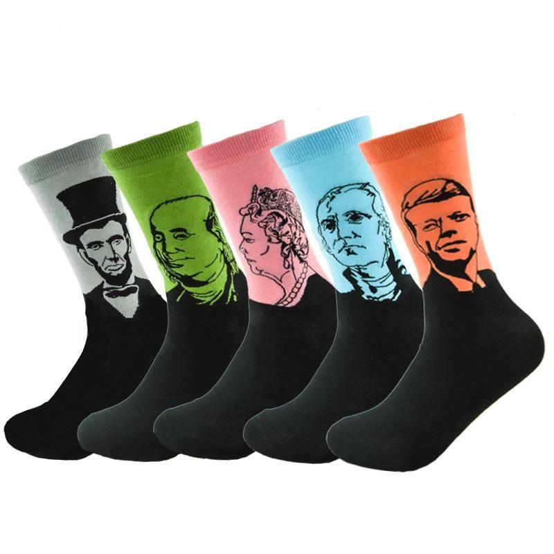 Unisex Retro Art Oil Painting Men Dress Socks Fashion Happy Socks Lovers Cotton Long Socks Sokken Calcetines Skateboard Socks Men's Socks