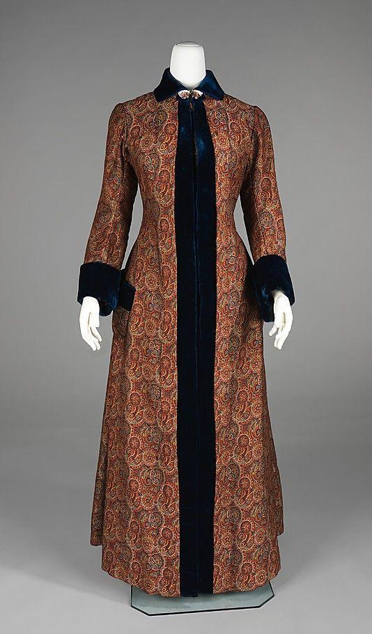 Dressing Gown.  Date: 1880–85. Culture: American. Medium: wool, silk. Dimensions: Length at CB: 58 in. (147.3 cm).