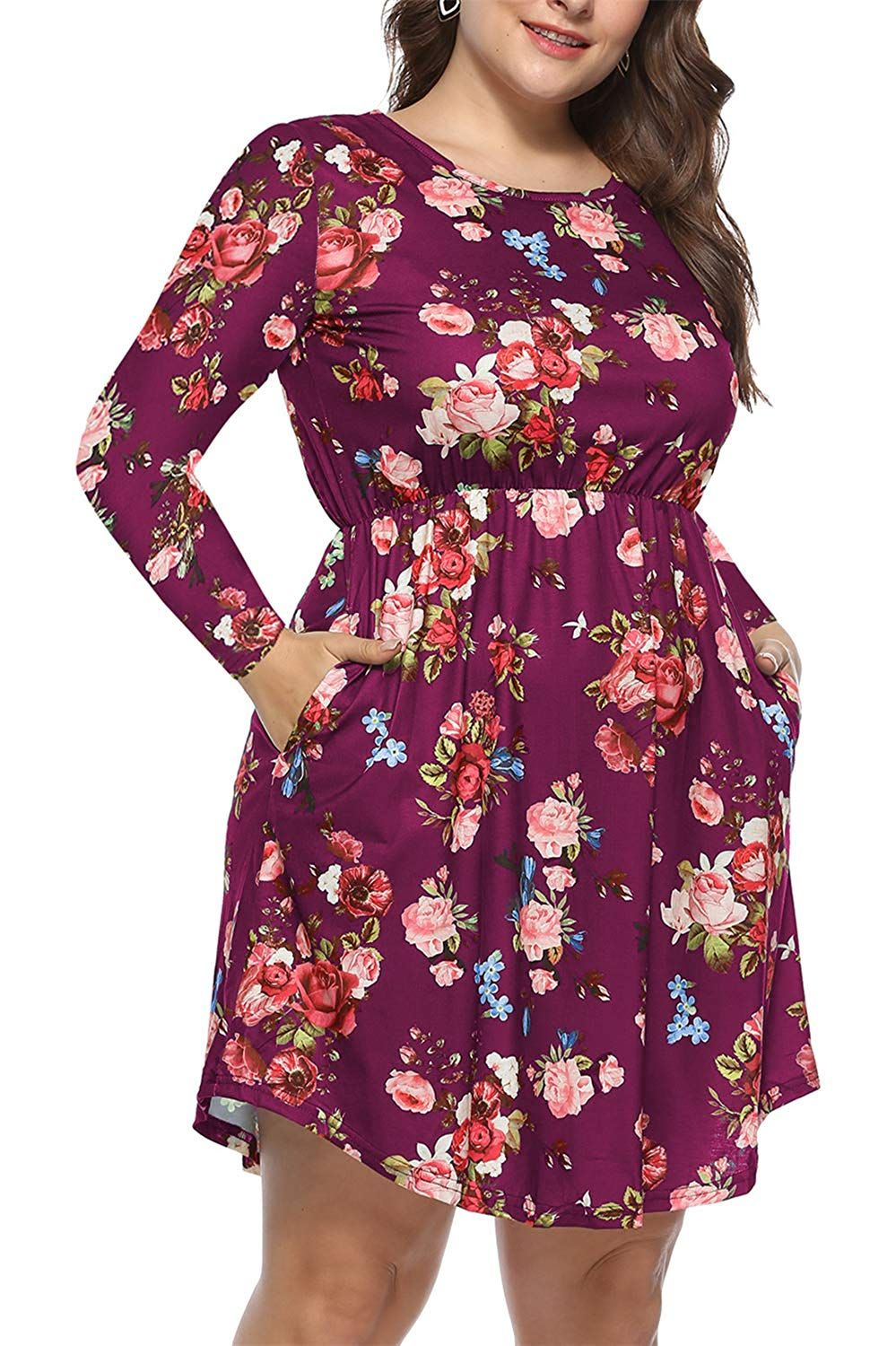 64d256eaeb3e8 VISLILY Women's Plus Size Floral Print Pleated Long Sleeve Casual ...