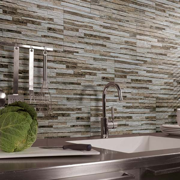 Here, Our Striking Liguria Split Face Tiles Have Been Used To Create A  Textured Stone Effect Kitchen Splashback; Injecting The Natural Look Into A  Home.