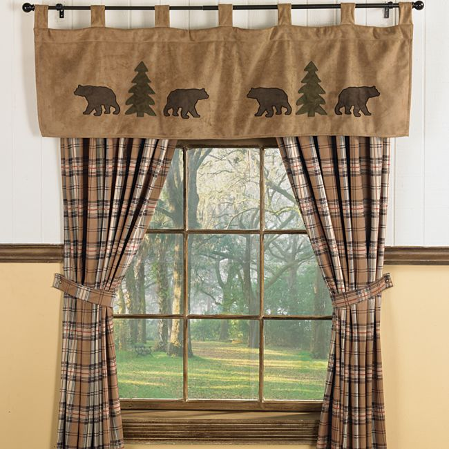 Bear trees wildlife window curtains for cabins for Windows for log cabins