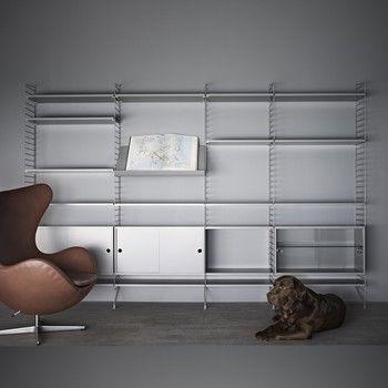 string - string wohnzimmer-wand - grau/18 regalböden, 2 schränken, Hause deko