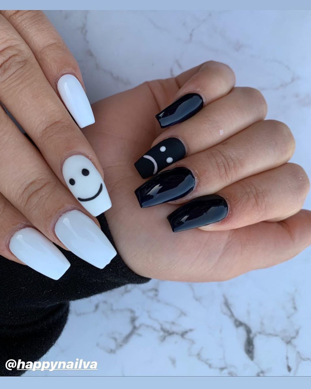 Happy Nails Leesburg On Instagram Emojis Face Of Black And White Nails Done By Tiffany Happynai In 2020 Black Acrylic Nails Happy Nails Acrylic Nails Coffin Short