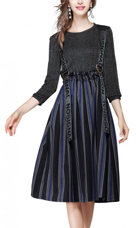b2bd9e4b02c women s Black Contrast Midi Dress With Striped Skirt makes you look  younger. Color black never be out in the fashion style. big sale