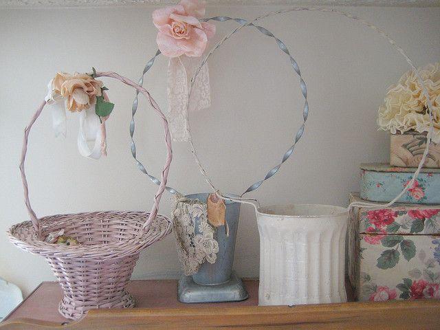 pretty vintage flower baskets