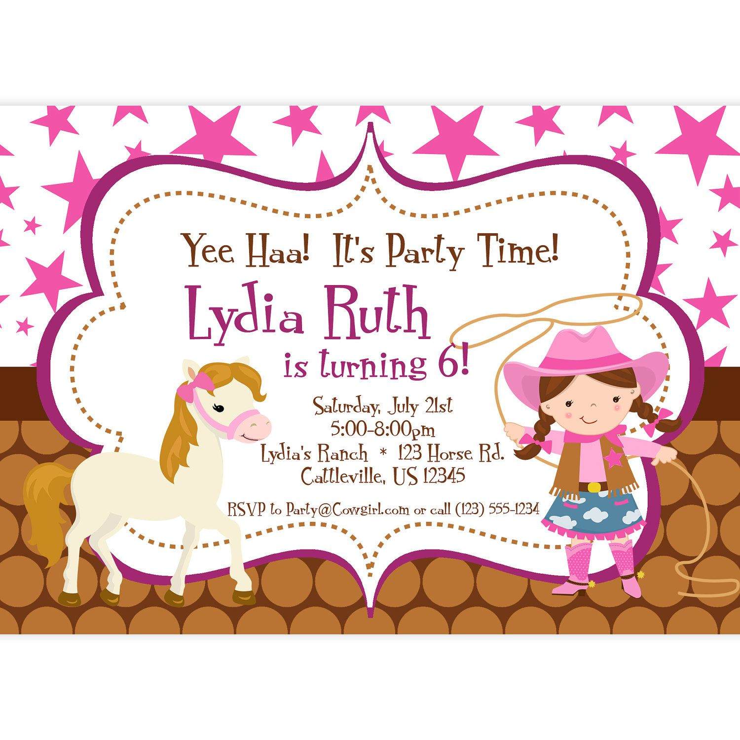 cowgirl invitation - pink stars and brown polka dot girl cowgirl, Party invitations
