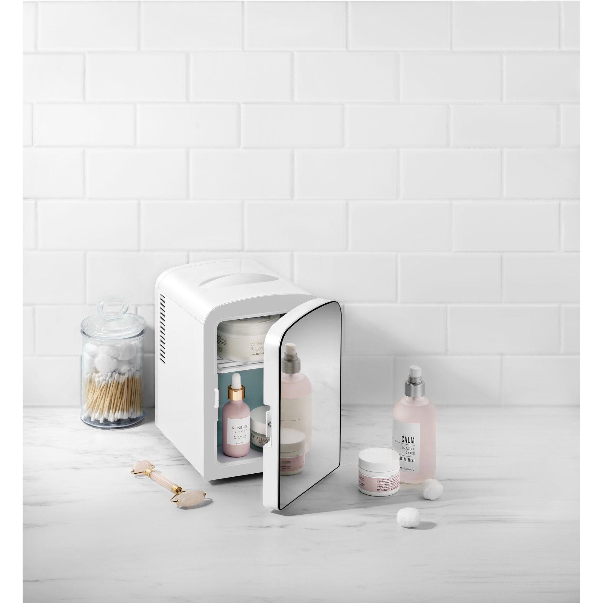 Chefman Mini Portable Mirror Personal Fridge White Walmart Com In 2020 Personal Fridge Portable Mirror Mini Fridges