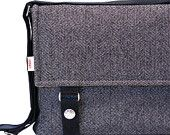 iPad Messenger Bag Padded -  Wool Large Herringbone iPad Messenger Bag. $72.00, via Etsy.