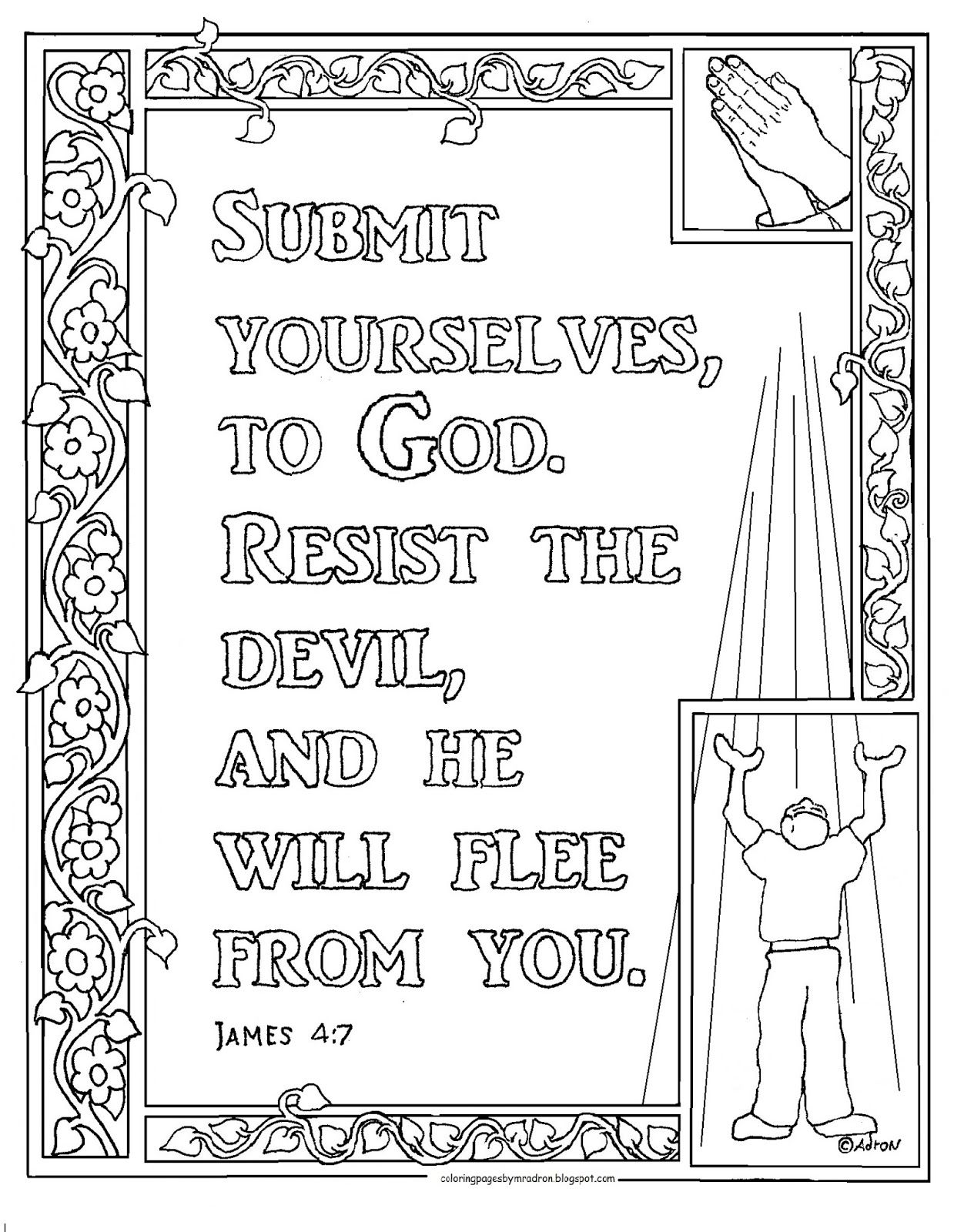 James 4 7 Print And Color Page Bible Verse Coloring Page Bible