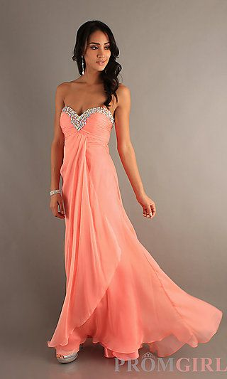 Full Length Strapless Sweetheart Dress at PromGirl.com $339- Coral, lilac