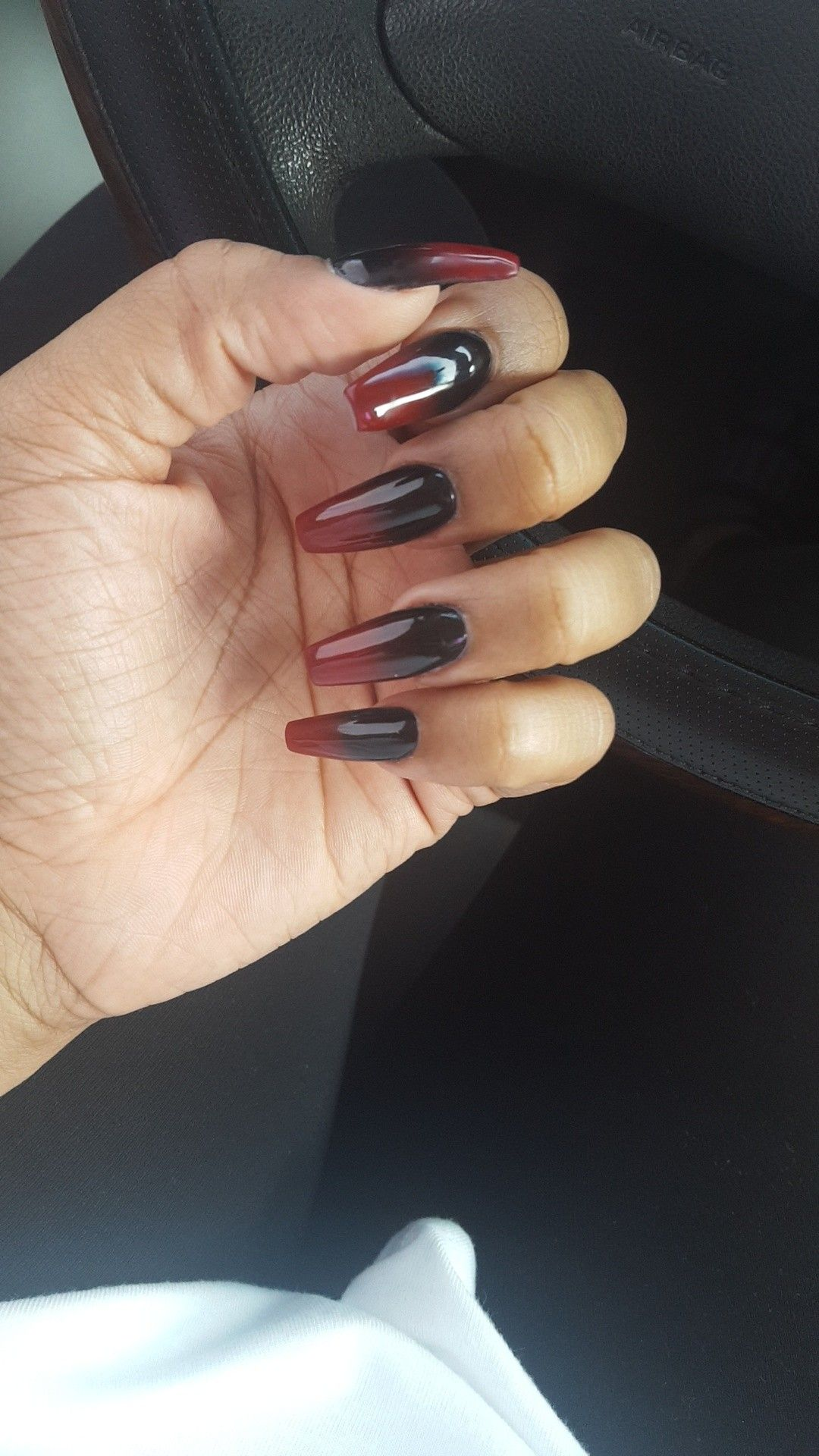 I Love My Black & Dark Red Ombre Nails
