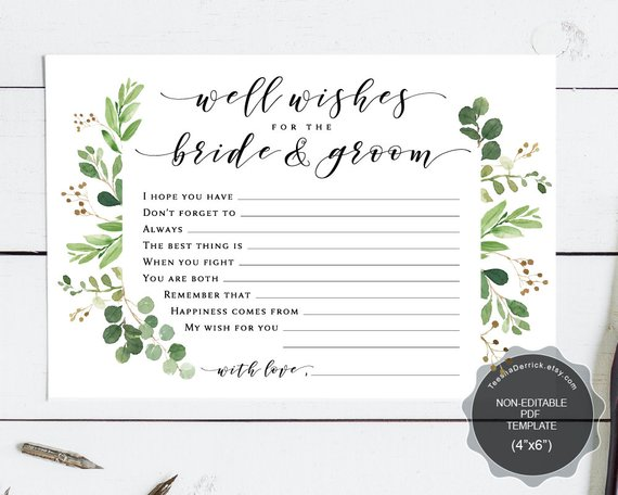 Well Wishes for the Bride and Groom card template, Instant download