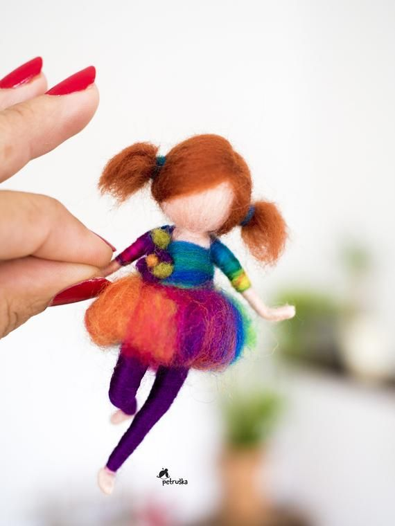 Felted Miniature Doll, Felted Pins, Rainbow Dress, Miniature Dolls Wool, Wool Fairy, Waldorf Felted Doll, Fairy Dolls Figurine, Redhead doll