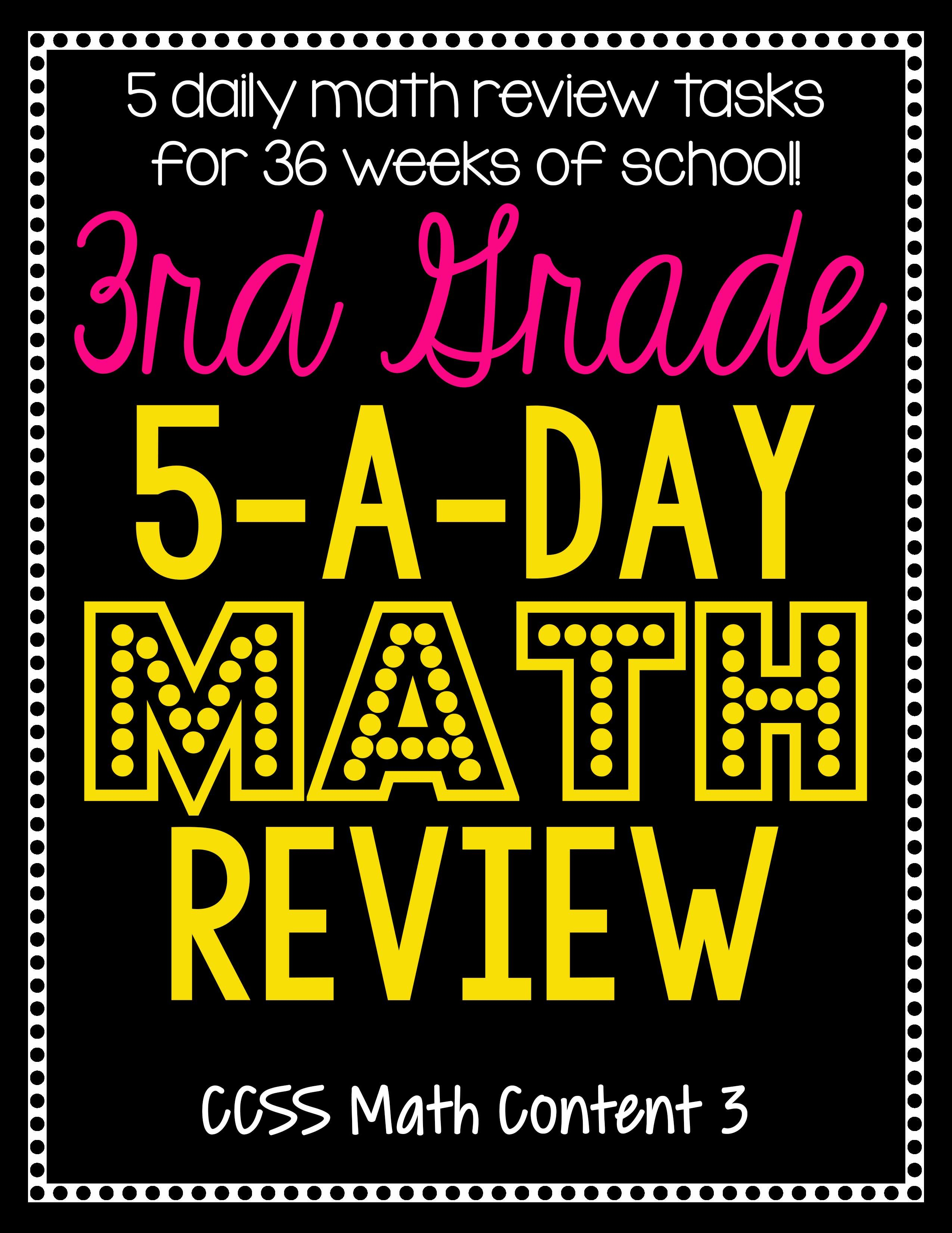 3rd Grade Daily Math Spiral Review Morning Work Editable