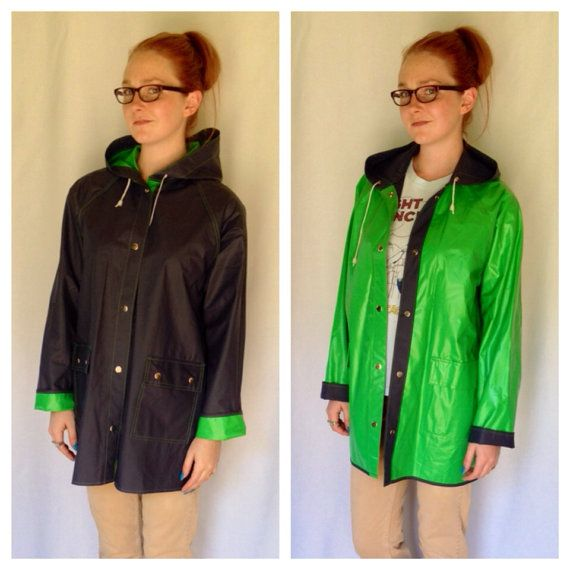 80s Reversible Rain Coat, Kelly Green Rain Jacket, Navy Blue Rain ...