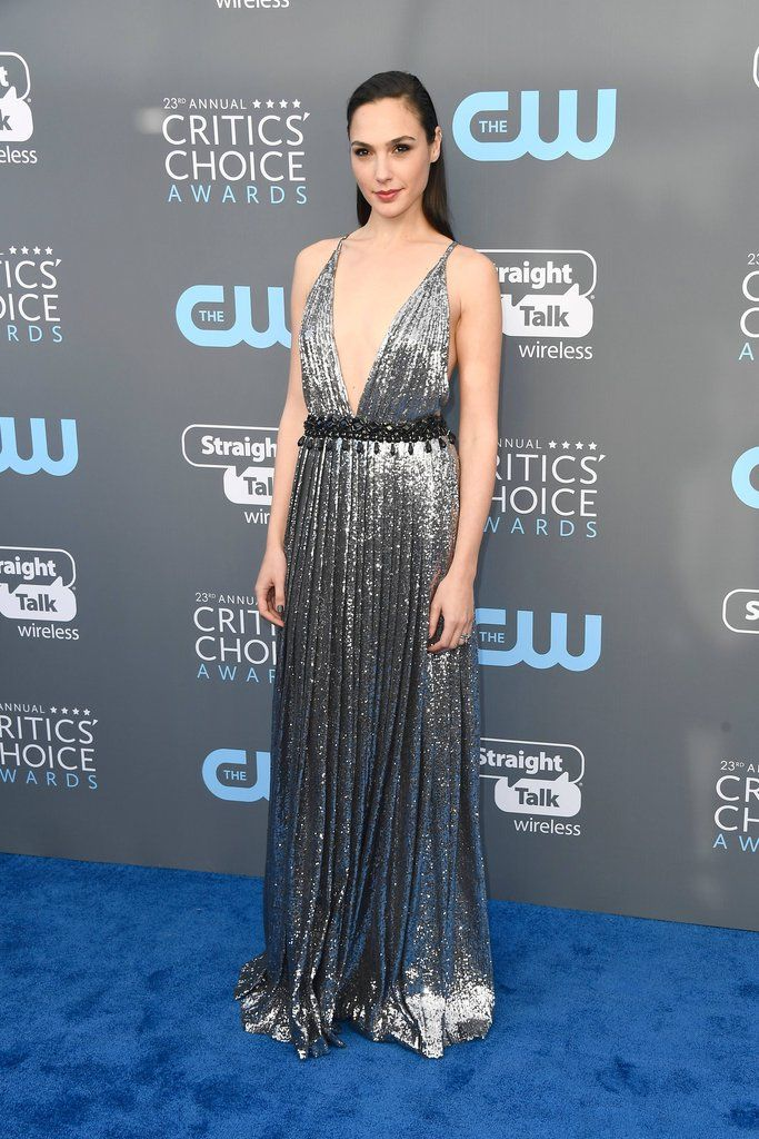 Gal Gadot's Critics' Choice Look Is What Metallic-Dress Dreams Are Made Of