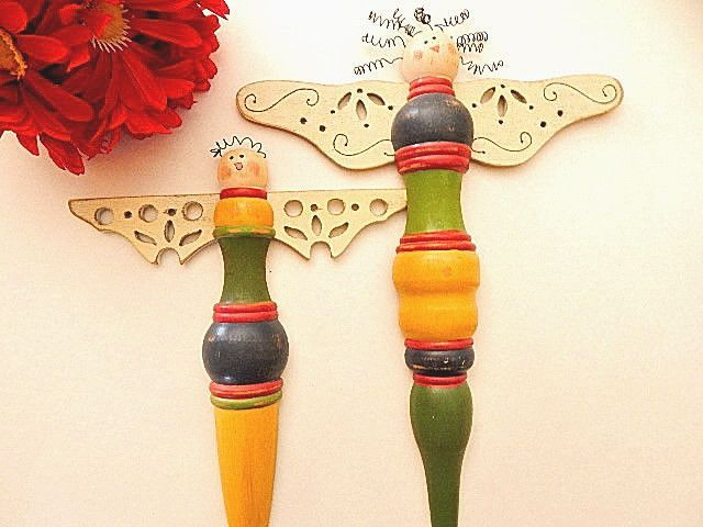 Angel Wall Hangings Wooded Spindle Hand Painted Folk Art Two Indoor ...
