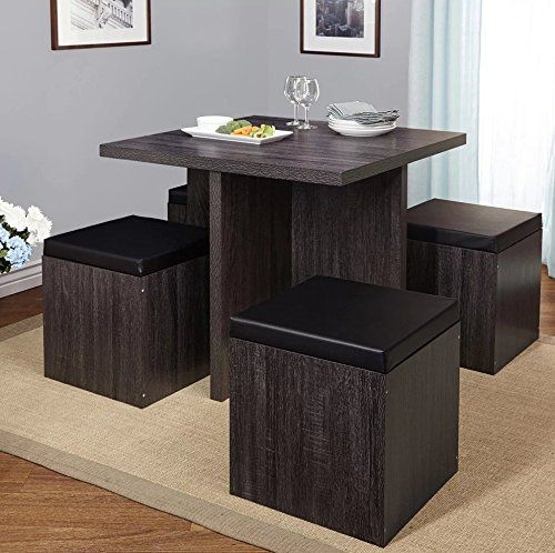 Simple Living 5-piece Baxter Dining Set with Storage Chair Ottomans (Black/Grey) Simple Living Products