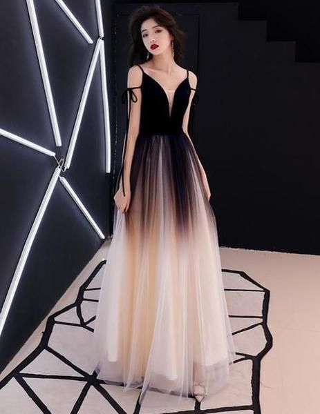 A Line Princess Evening Dresses, Sleeveless Spaghetti Straps Gradient Dress,Deep V Neck Prom Dresses