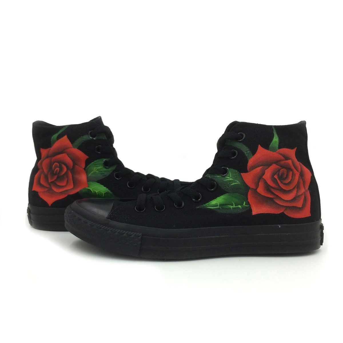 All Black Converse Shoes Men Women Rose Hand Painted