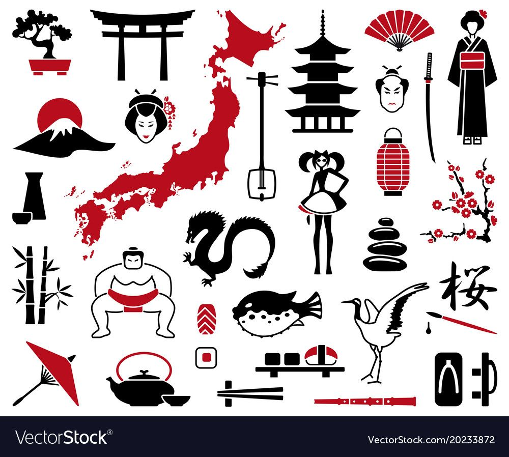 Japan icons Royalty Free Vector Image VectorStock