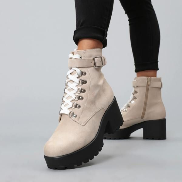 fce8470342e Beige Suede Chunky Platform Biker Boots with White Laces and Ski Hooks –  KOI footwear