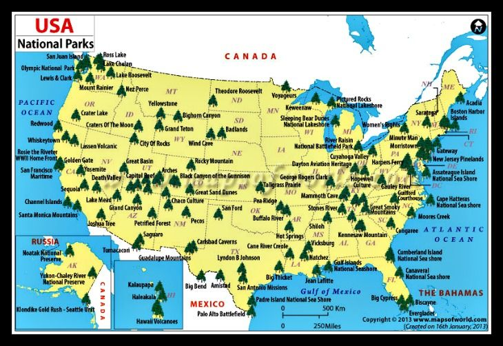 A map of all the major national parks in the US How many have