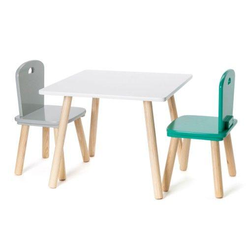 Table carrée naturel/blanc Oxybul