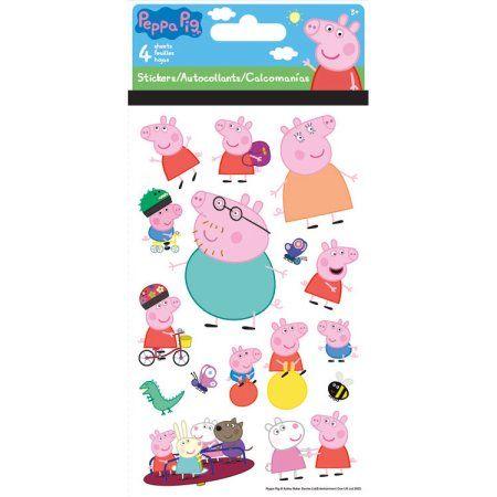 Peppa Pig Standard Stickers 4 Sheet Walmart Com Peppa Pig Stickers Peppa Pig Birthday Party Peppa Pig Party