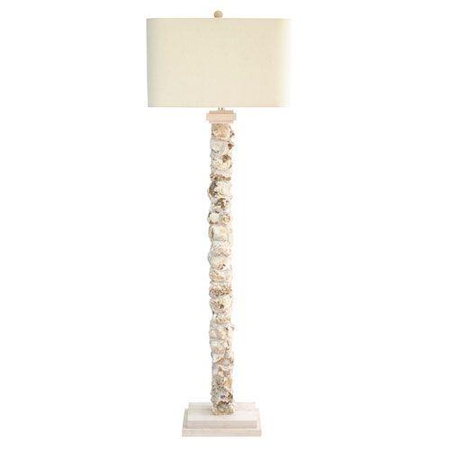 Elegant Coastal Retreat Natural Oyster Shell One Light Energy Star Floor Lamp