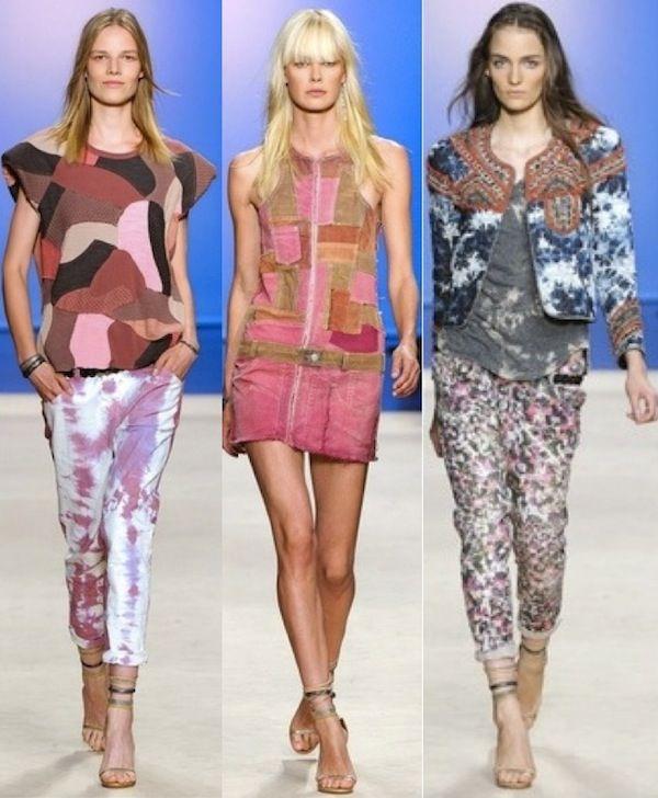 isabel-marant-pfw-patchwork-denim-bleached-denim-splatter-denim   jacket embroidery