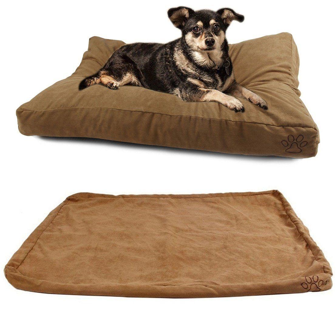 1Pcs Grandiose Popular Pet Bed Cover Size L 36' x 29' Zipper Dog Comfort Replacement Color Type Khaki Suede ** Visit the image link more details.
