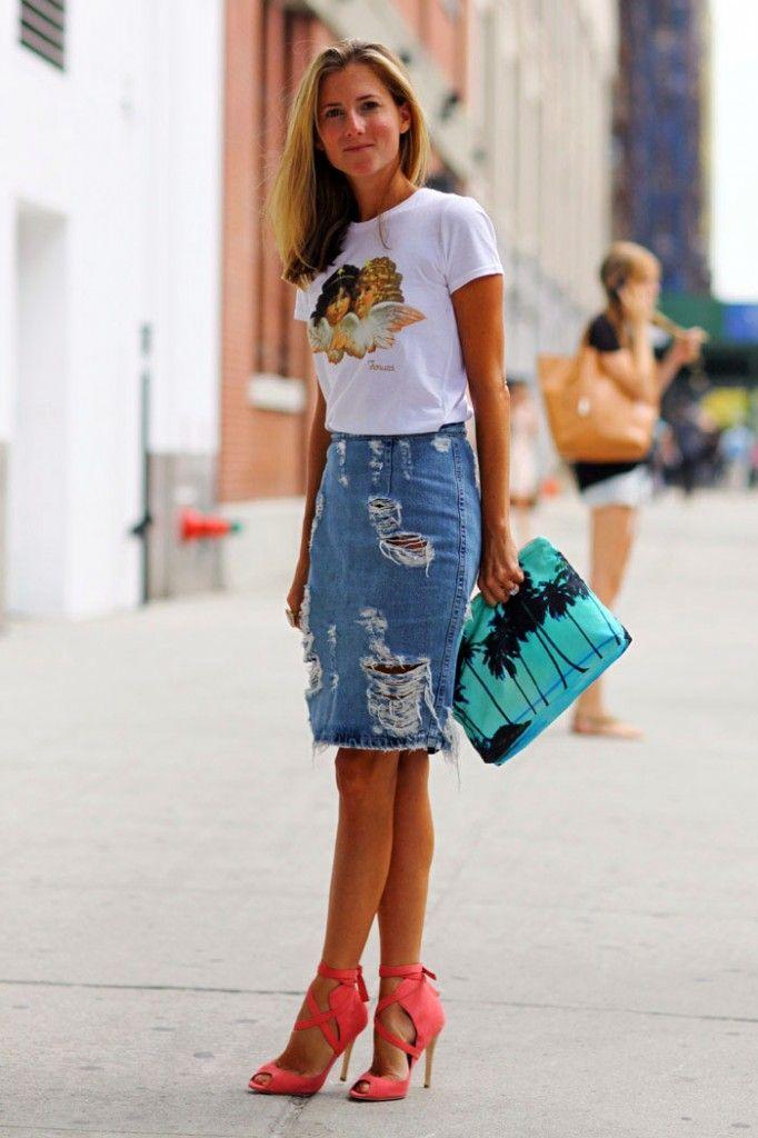 b9b03811f Saia Lapis Jeans, Mini Saia Jeans, Look Saia E Blusa, Looks Saia Jeans