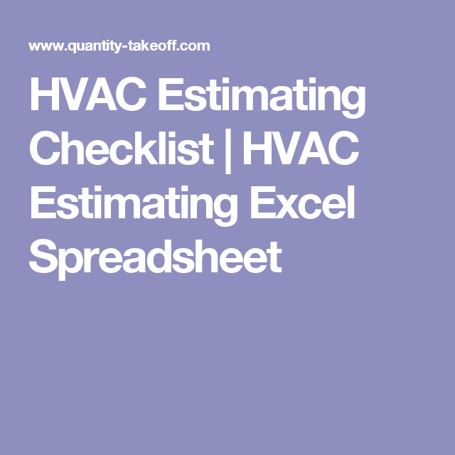 HVAC Estimating Checklist | HVAC Estimating Excel Spreadsheet ...