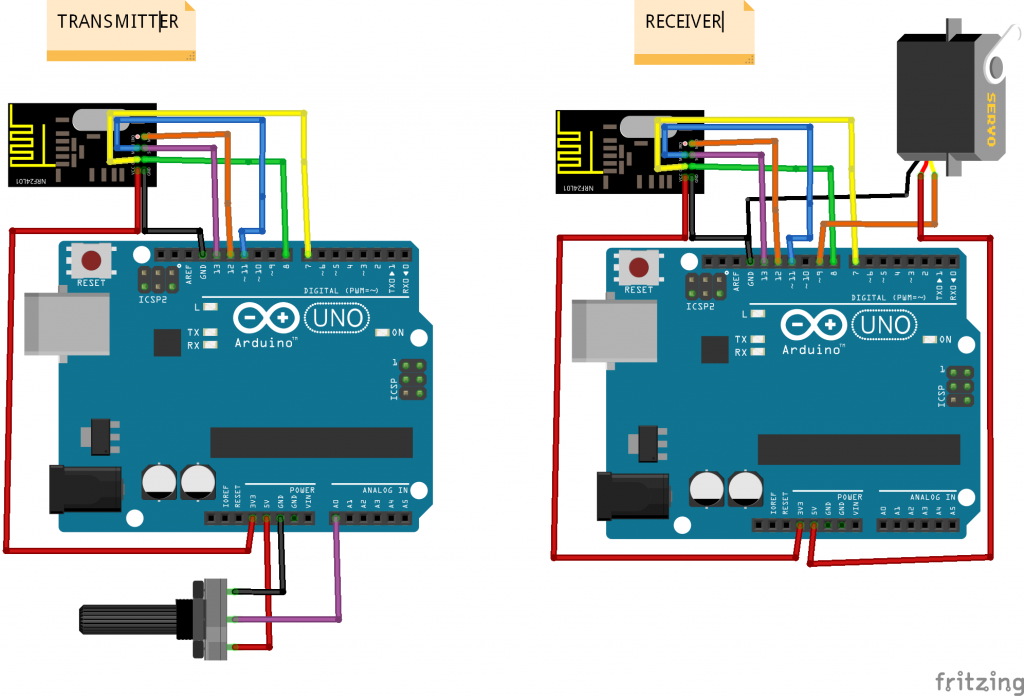 We use two arduino communicating bluetooth or rf modules
