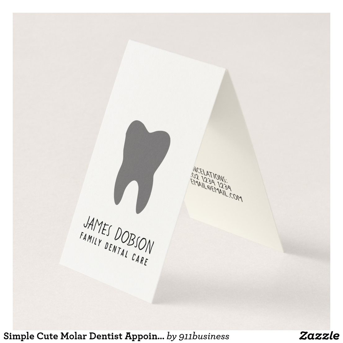 Unique Contemporary Cute Molar Dentist Appointment Business Card ...