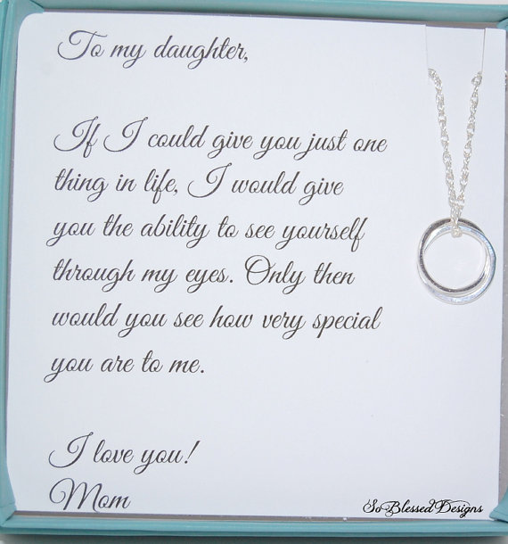 DAUGHTER Necklace To Daughter From Mom Double Circles Daughters POEM Birthday