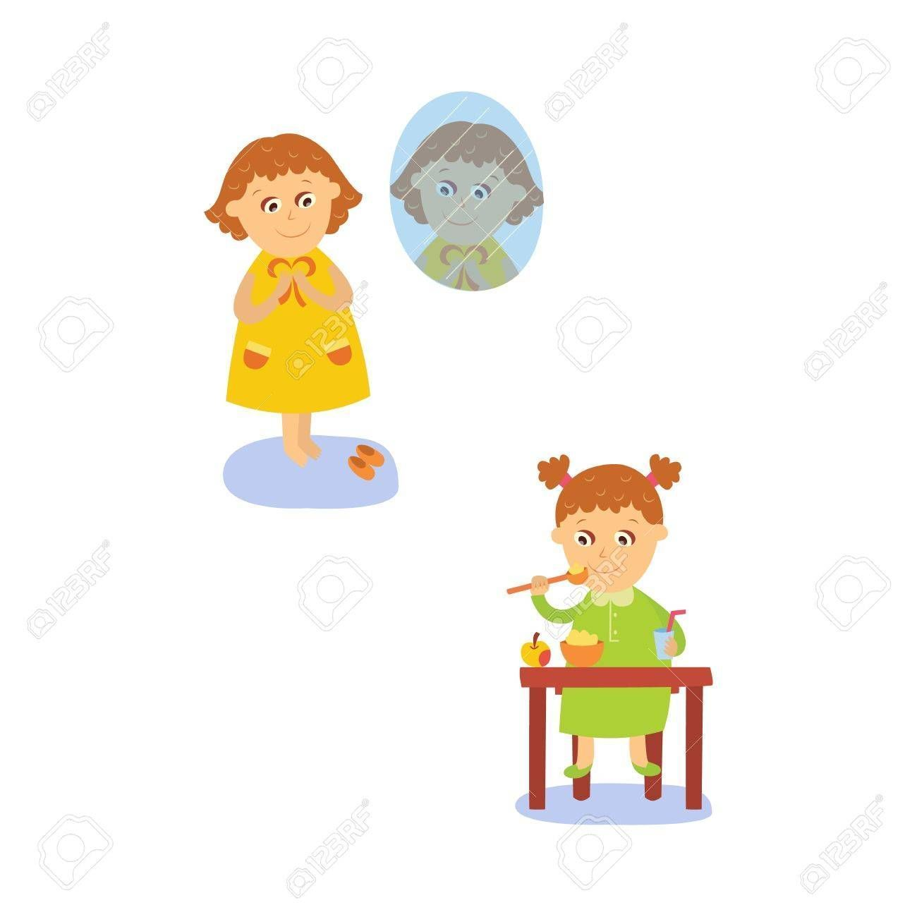 Vector Flat Girl Kid Doing Everyday Routine Activity Set Child Eating Porridge Ant Apple At Table Dressing In 2020 Kids Table Set Table Settings Everyday Apple Table