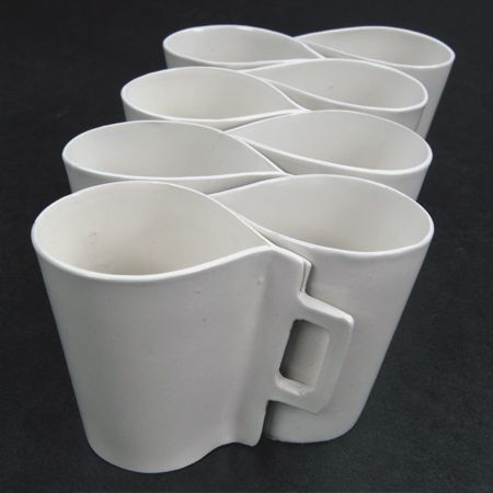 Piet Hein Eek's Ceramic Mugs. I love it when items interlock!