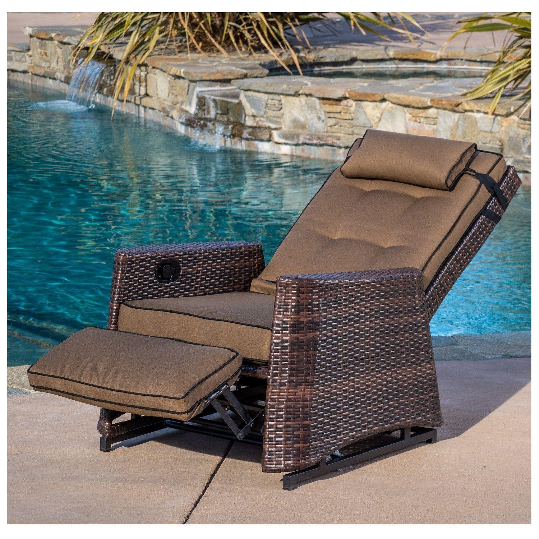 Outdoor Wicker Recliner Rocking Chair
